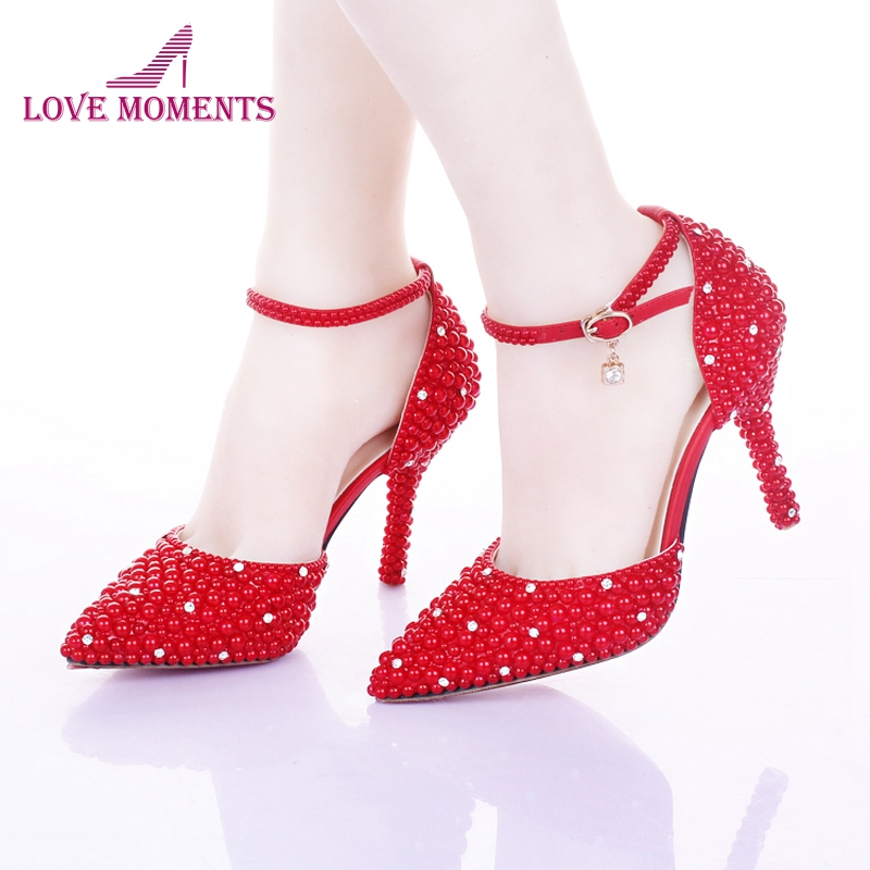 High Heels Stilettos Pointed Toe Wedding Shoes Red Pearl Shoes for Bride Ankle Strap Women Shoes Valentine Party Prom Pumps jawakye super high heel pumps red white shoes women pointed toe high quality leather wedding shoes bride 12cm ladies stilettos