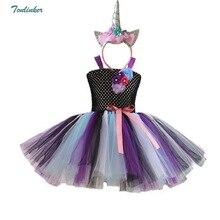Girls Unicorn Tulle Black Tutu Dress With Headband Horn Flower Hair Hoop Set for Kids Birthday Theme Party Cosplay New