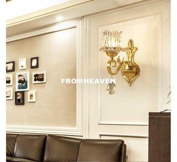 무료 배송 현대 크리스탈 벽 램프 크리스탈 그늘과 집에 대 한 유럽 황동 벽 sconce 현대 램프 광택 홈 장식