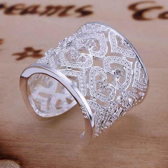 เงิน 925 แหวนแฟชั่นฝัง Zircon หลาย Ring แหวนผู้หญิงเงินของขวัญเครื่องประดับนิ้วมือแหวน SMTR106