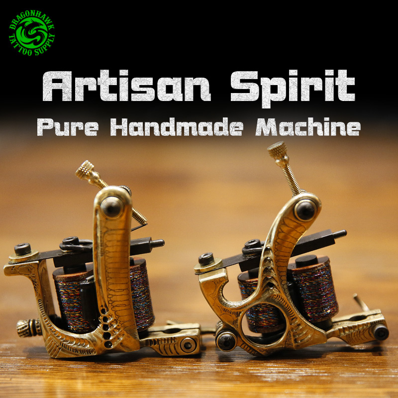 Tattoo Handmade Carved Machine Pure Copper Wraps Coil Tattoo Gun Liner and Shader Tattoo Artist Supplies