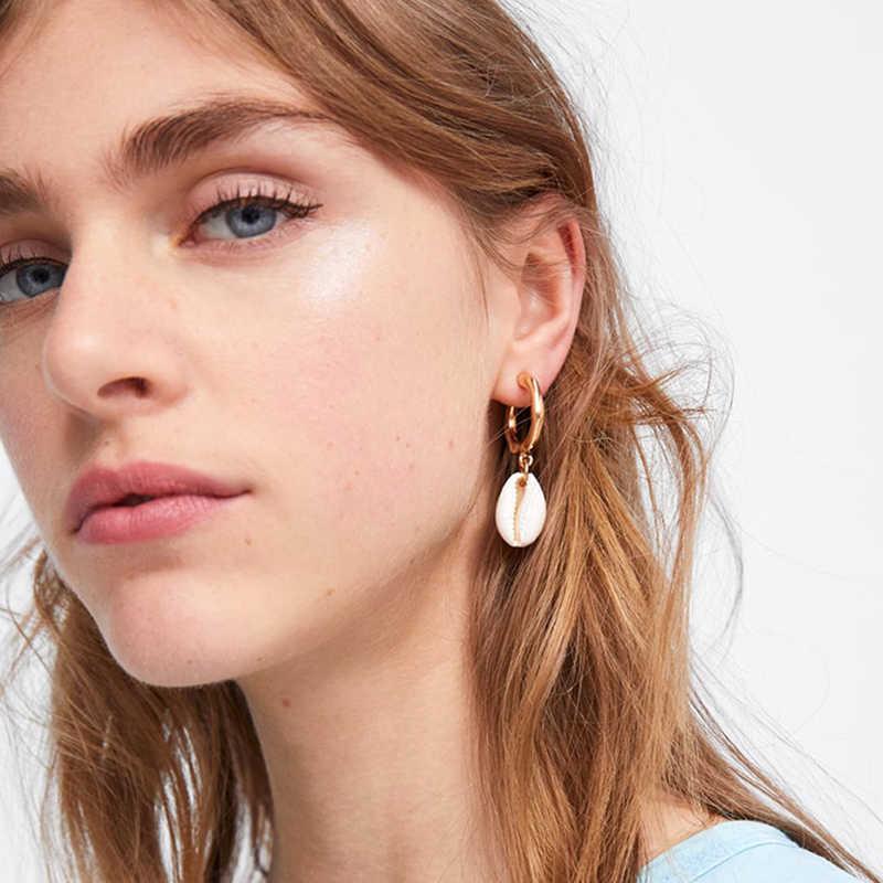 AENSOA Elegant Shell Alloy Drop Earrings ZA Cute Chic Statement Dangle Earrings for Women Wedding Party Gifts Irregular Jewelry