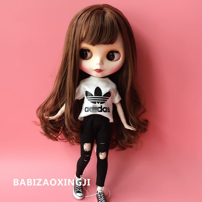 1/6 blyth doll clothes Accessories Fashion T-shirt + jeans for barbie doll blyth 30cm doll clothing accessories 100pcs mini button buckle blyth doll clothing accessory tri glide 3 mm ultra small belt buckle doll clothes buttons shoes buckle