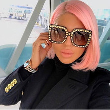 Superdimensionada Óculos De Sol De Luxo Óculos de Sol Da Marca Italiana  2018 Olho de Gato Diamante Pink Lady Big Vintage Shades . dad9eddc07
