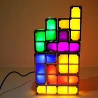 FENGLAIYI DIY Tetris Puzzle Retro Style Game Tower Baby Colorful Brick Creative Puzzle LED Night Light Children Gift Lamp