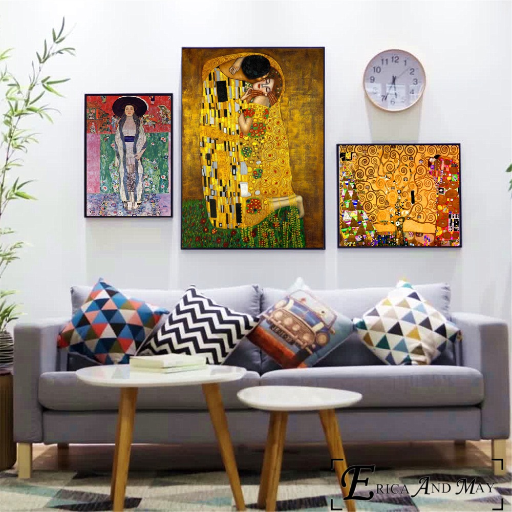 Gustav Klimt Abstract Canvas Painting Posters And Prints For Living Room No Framed Wall Art Picture Home Decor On Sale
