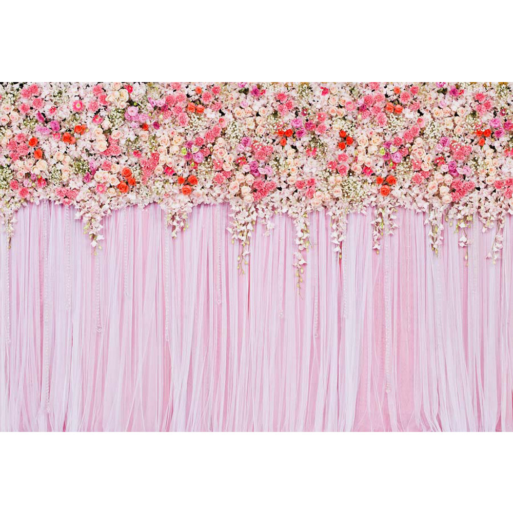 Wedding Flower Background: Pink Curtain Wall Wedding Floral Photography Backdrops