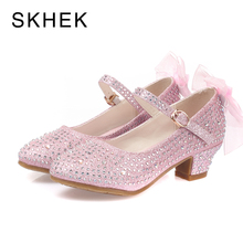 SKHEK New Girls Sandals High Heels Children Princess Leather Spring Autumn  Shoes Chaussure Enfants Fille Sandalias