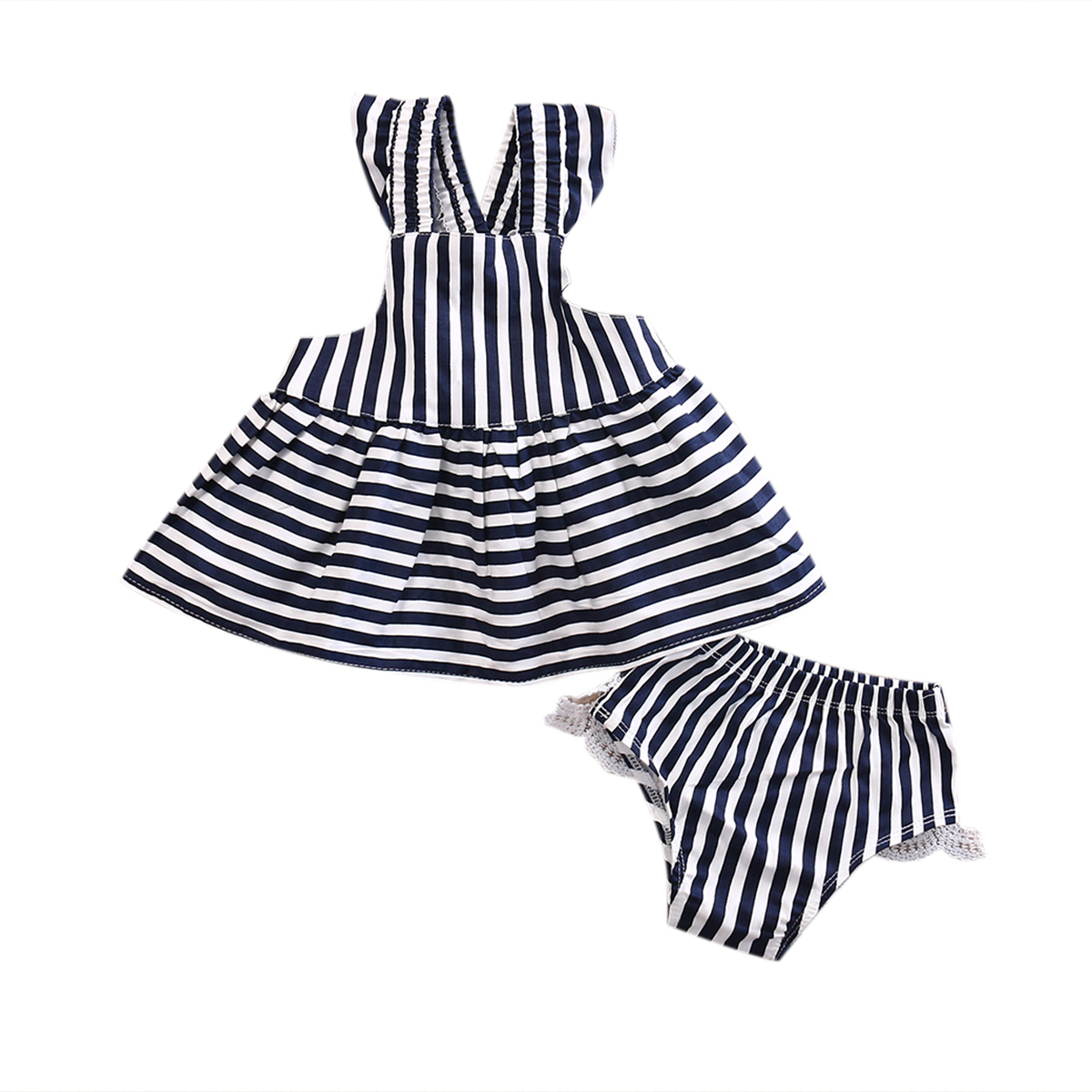 Summer Newborn Infant Baby Girls Clothes Set Stripe Backless Sleeveless Dress Lace Shorts Briefs Outfit 2PCS