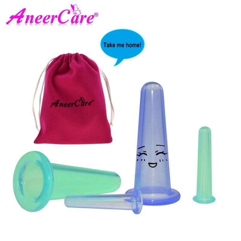 4Pcs ventosa celulitis banks vacuum massage face silicone banks for ventouse vacuum jar facial massage cupping suction cup leanne banks feet first