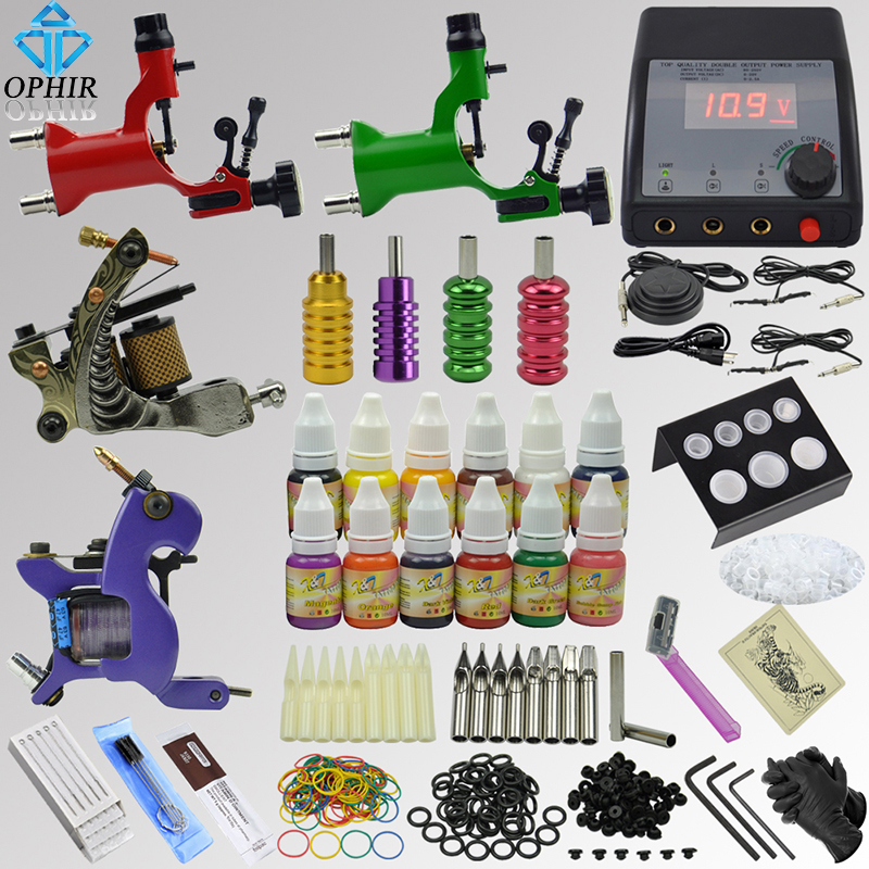OPHIR 354pcs Complete Tattoo Kit For Body Art with 4 Electric Tattoo Guns 12 Ink Pigment Grip Tattoo Needles Nozzles Set _TA091 ophir 380pcs pro complete tattoo kit 3 tattoo machines guns 40 colors ink pigment tattoo supply power needles nozzles set ta005