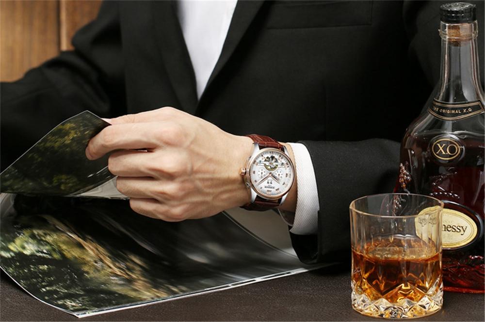 HTB18yN3dBWD3KVjSZKPq6yp7FXaj KINYUED 2019 Skeleton Tourbillon Mechanical Watch Automatic Men Classic Rose Gold Leather Mechanical Wrist Watches Reloj Hombre