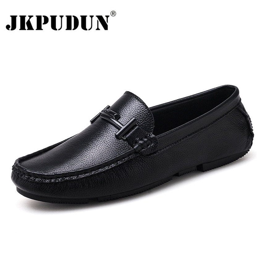 Casual Sur Jkpudun Noir Marques De Mocassins Cuir Hommes white Conduite Chaussures Italien En Slip Formelle Luxe Véritable Black wxYS4x