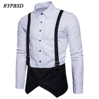 New Arrival Fashion 2018 Fake Two Strap Design Shirt Men Patchwork Black White Long Sleeve Male Dress Shirts Chemise Homme XXL