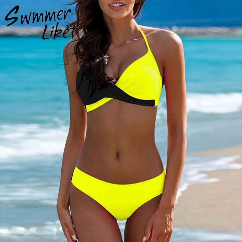 Padded bra bikinis 2018 woman Halter sexy swimsuit female Push up plus size swimwear Yellow micro bikini Bathing suit women xxxl нож morakniv service knife длина лезвия 43мм