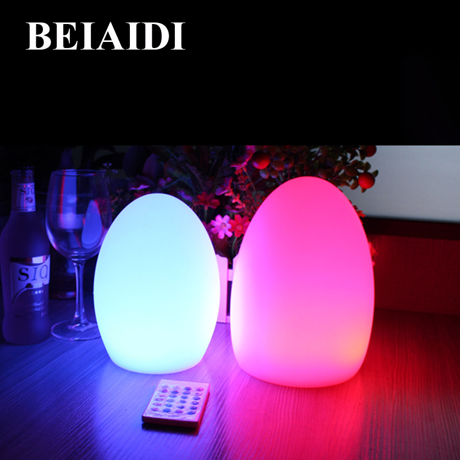 BEIAIDI 1PC IP68 Egg Shape Led Night Light With Remote Rechargeable 16 Color Outdoor Restuarant Hotel Wedding Decorative Lamp beiaidi 7 color usb rechargeable rabbit led night light dimmable animal cartoon light with remote baby kids christmas gift lamp