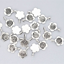 100Pcs Silver Tone Flower Glue On Bail Metal Pendants Jewelry Findings Charms 15x11mm