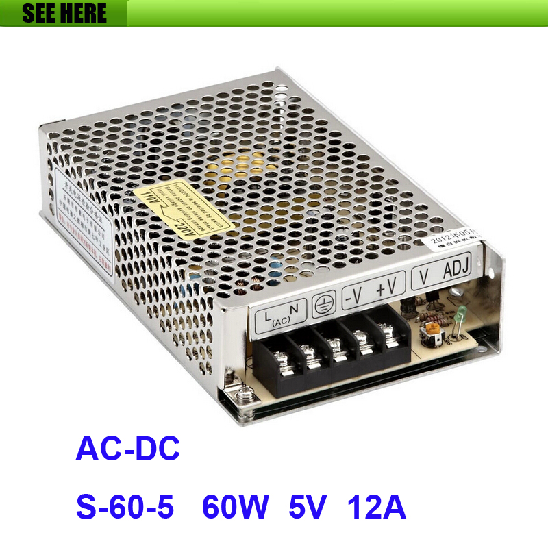 Free Shipping Universal 5V 12A 60W Switch Power Supply Driver Switching For LED Strip Light Display 110V 220V S-60-5 12v 3 2a 40w switch power supply driver for led light strip 110v 220v