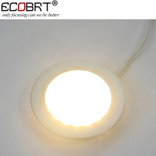 ECOBRT-Ultra-slim 12V LED Round Recessed Ceiling Down light with High lumen for Under led Cabinet Lights 60mm hole size 6pcs/lot