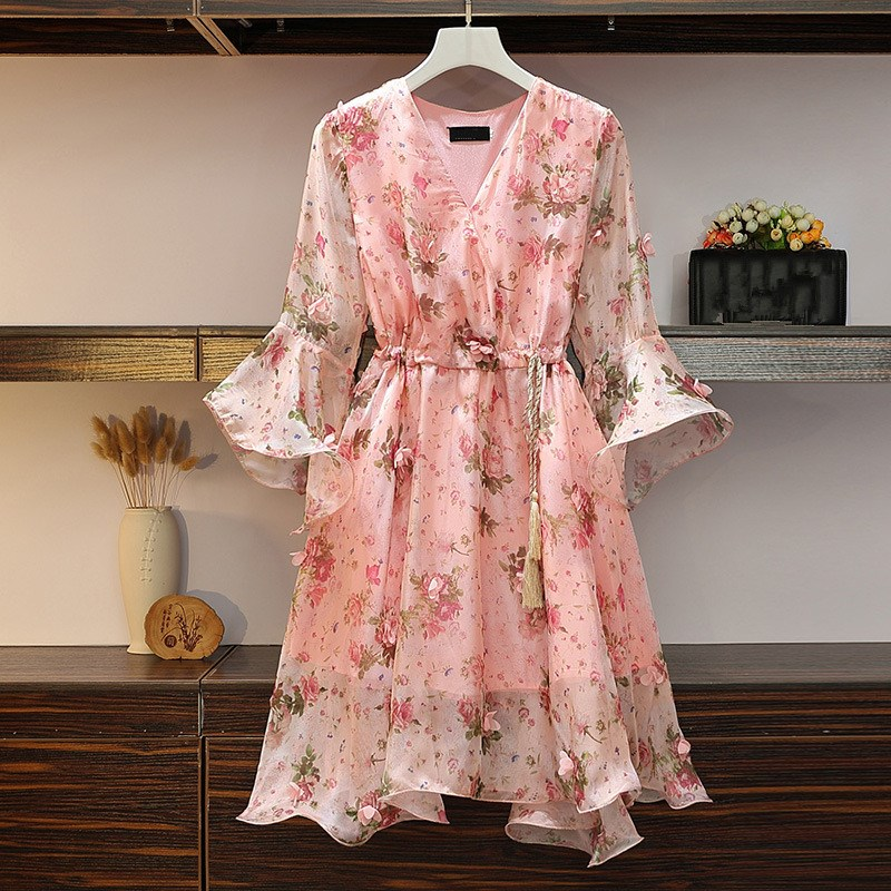 Women V-Neck Floral Appliques Chiffon Dress 2019 Summer Flare Sleeve Belt Flower Print Dress Empire Plus Size Mini Dresses 42