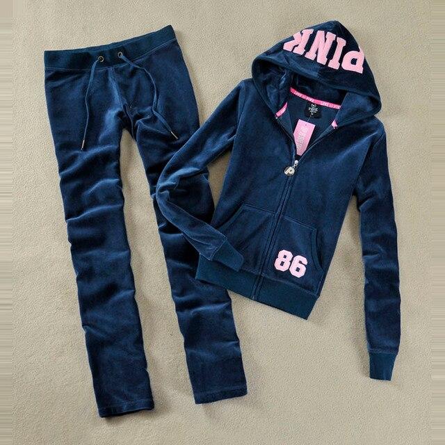 ฤดูใบไม้ผลิ/ฤดูใบไม้ร่วง 2020 ผู้หญิงสีชมพูยี่ห้อผ้ากำมะหยี่ Tracksuits Velour ชุดผู้หญิงชุดสูท Hoodies และกางเกงขนาด s XL