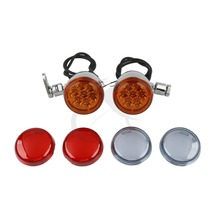купить Motorcycle Turn Signals Lights & Bracket Chrome For Harley Dyna Wide Super Glide FXDWG FXD дешево