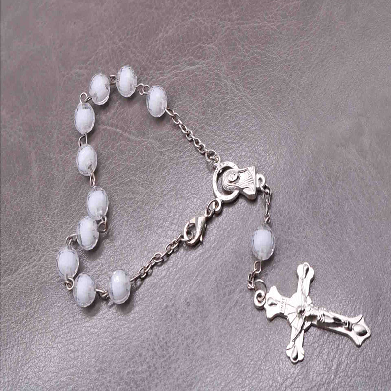 48 pieces piece of religious bracelet silver crystal pearl rosary child holy communion baby baptism is