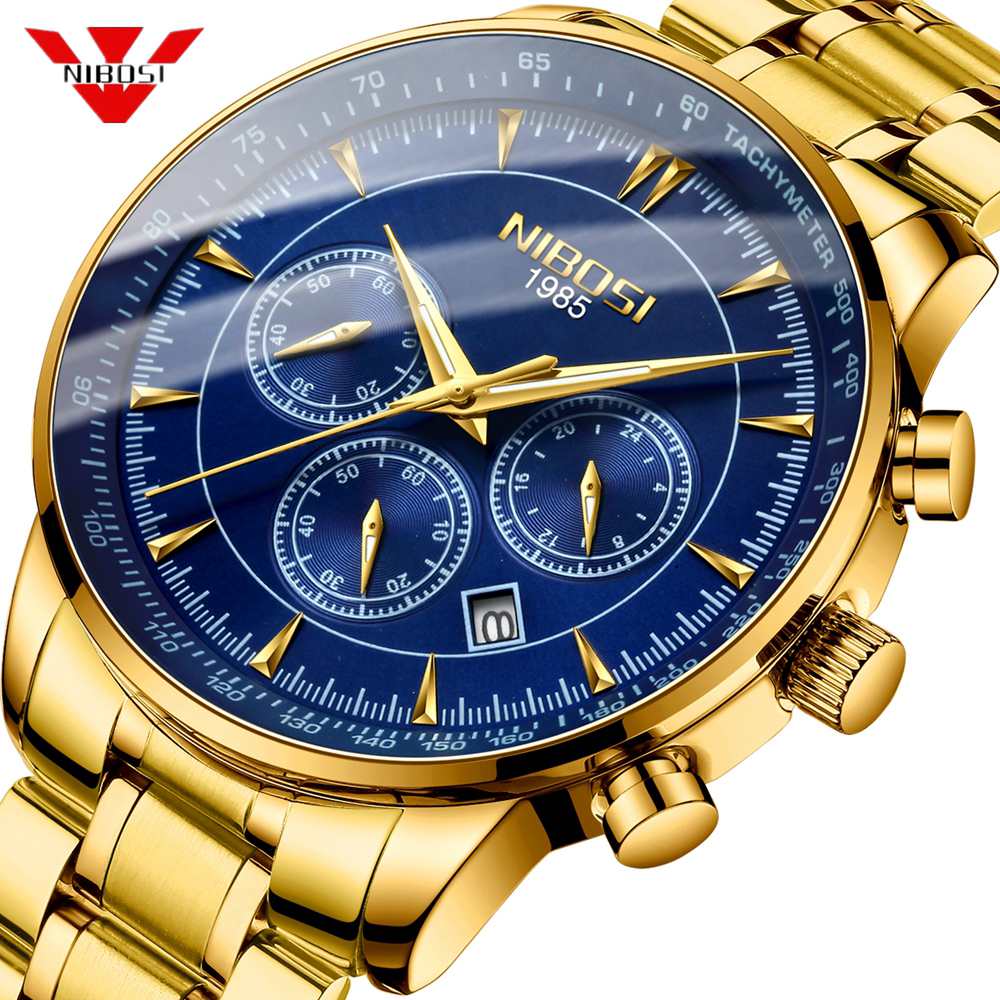 NIBOSI Quartz Watch Men Waterproof 30M Gold Blue Watches Business Fashion Sport Herren Uhren Date Male Clock Relogio Masculino