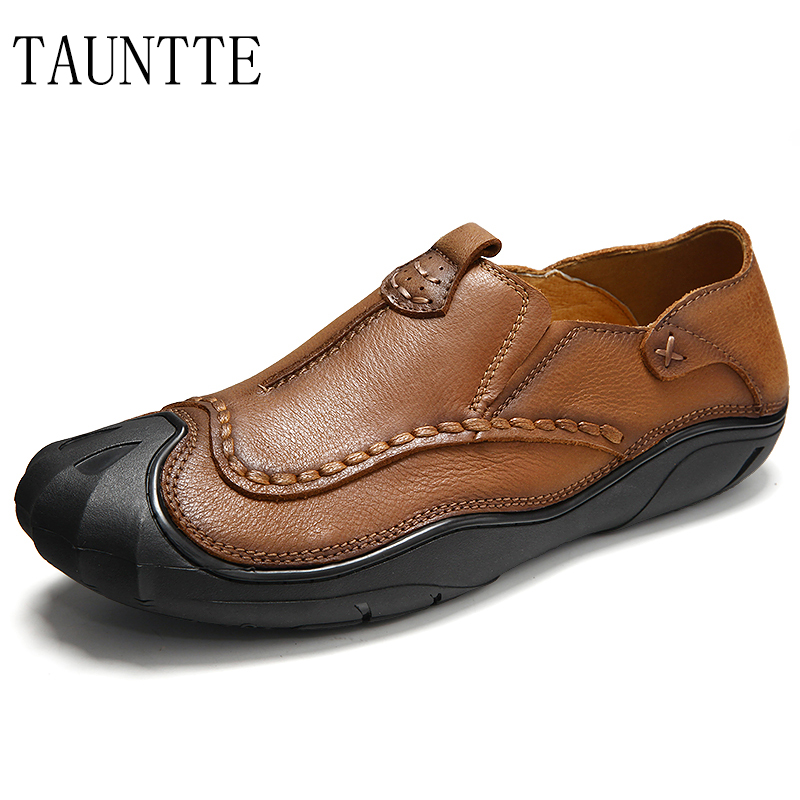 Taunte 2017 New Arrival Men Cow Leather Shoes Breathable Anti-Odor Genuine Leather Shoes Fashion Slip on Casual Shoes retail 2016 new design heart genuine cow leather baby moccasins shoes fashion bow moccs girls newborn baby firstwalker anti slip