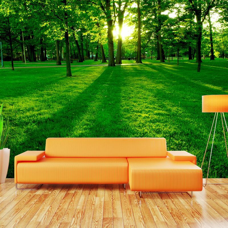 Custom 3D Photo Wallpaper Mural Green Forest Sunlight Living Room Sofa TV Background Non-woven Wall Painting Wallpaper Modern custom modern 3d non woven photos wallpaper wall mural 3d wallpaper gold coast tv sofa wallpaper home decor for living room