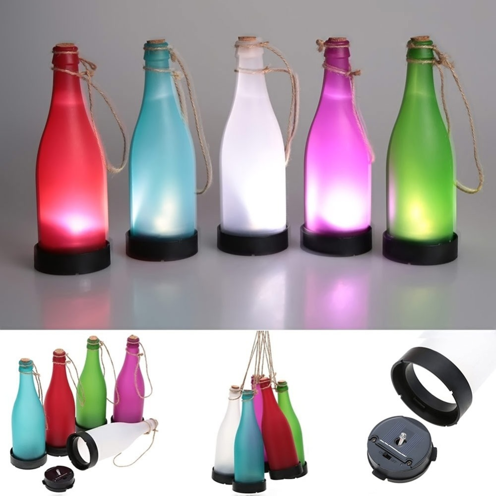 5 Pcs/sets Cork Wine Bottle LED Solar Powered Sense Light Outdoor Hanging Garden Lamp For Party Courtyard Patio Path Decoration creative set of 5 solar led glass bottle lights lamp outdoor garden patio lighting