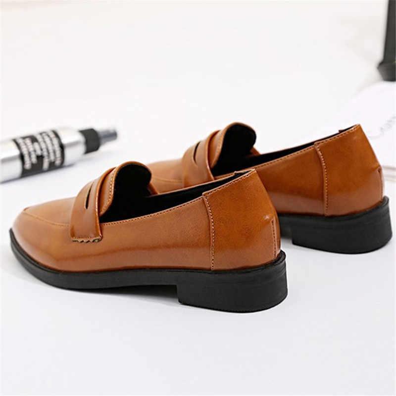 2019 vrouwen flats instappers lakleer effen mode slip op schoenen meisjes basic wees teen zwart rood orange vrouwelijke naaien schoen