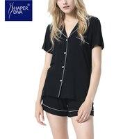 Shaper Diva Women Pajama Set Casual V Neck Breathable Pyjamas Sexy Sleepwear Two Pieces Shorts Pajama