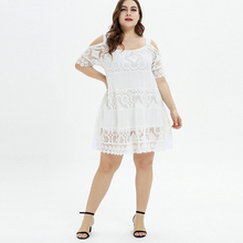 Summer Plus Size Mini Dress Off Shoulder Spaghetti Strap Lace Dress Large Size Party Vestidos Transparent Loose Elegant Dresses