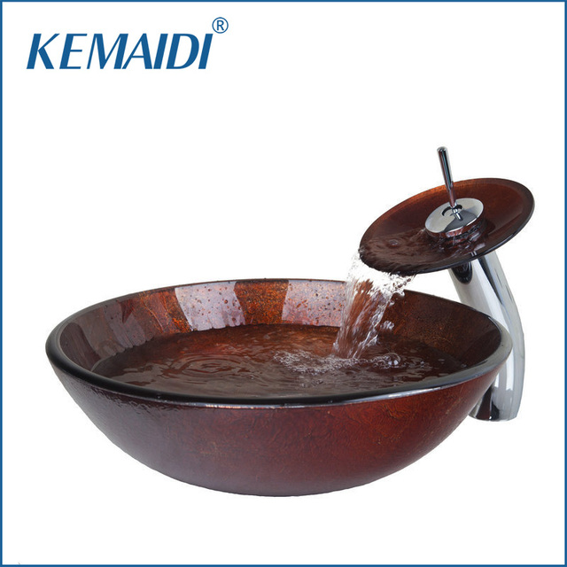 KEMAIDI Victory Glass Bowl,Bathroom Sink,Decor Art Wash Basin With  Waterfall Faucet Tempered