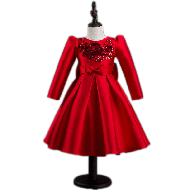 girls dresses winter 2017 new girls princess dress sequined floral kids costumes long sleeve ball gown new year costume for girl fashion cotton girls dress stripe belt 2pcs kids dresses for girls black long new year costumes for kids for2 7t baby girl