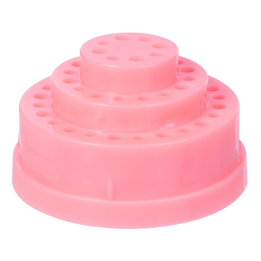HAICAR 48Hole Pink Organizer Manicure Box Displayer font b Nail b font Drill Bit Holder Stand