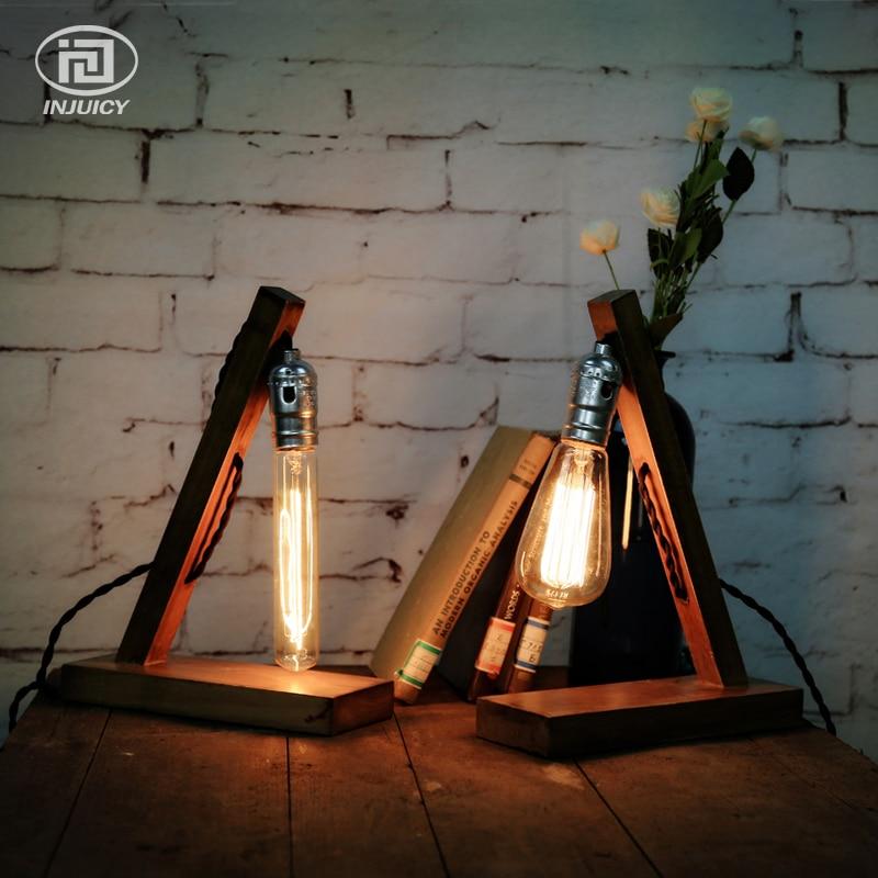 LOFT ретро дерево E27 настольная лампа Эдисона Cafe домашний бар украшения стол свет для ...
