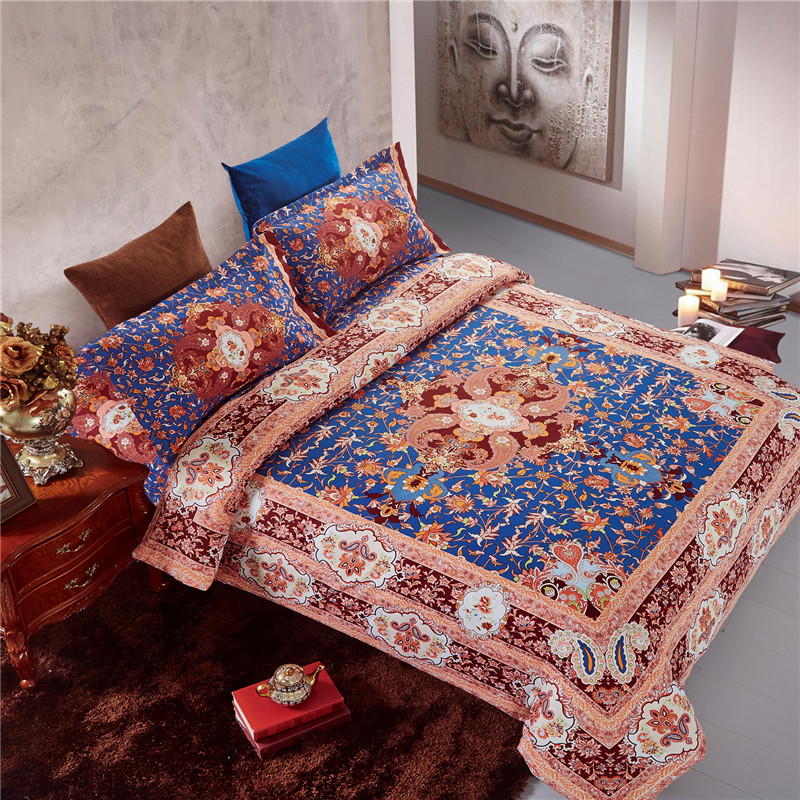 Inde Boho paradis yoga ensemble de literie housse de couette drap de lit taies d'oreiller reine taille, réversible, velouté, poche profonde