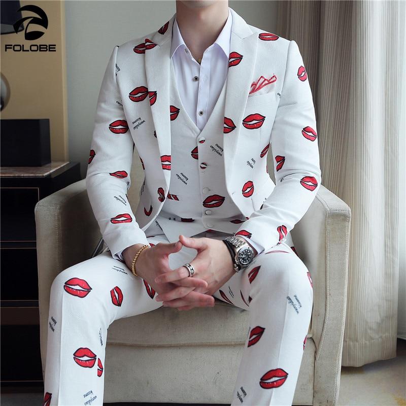 FOLOBE 6 สีดอกไม้พิมพ์ชุด 2019 Designer งานแต่งงานชุดเครื่องแต่งกาย Mariage Homme Casual Party 3 pcs (เสื้อ + เสื้อกั๊ก + กางเกง)-ใน สูท จาก เสื้อผ้าผู้ชาย บน   1