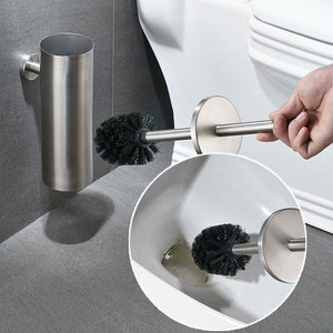 Image 3 - Toilet Brush SUS304 Stainless Steel Wall Mount for Bathroom Storage Modern Style Brushed Finished