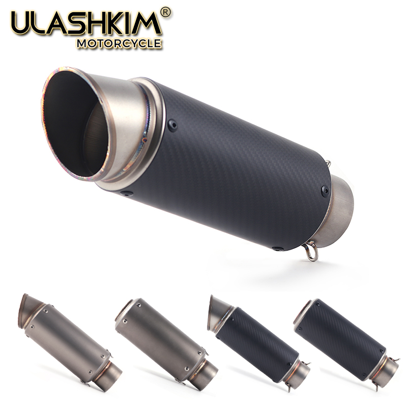 Universal Motorcycle Carbon Fiber laser stickers Exhaust Escape Muffler Pipe Inlet 51-61mm 61-51mm