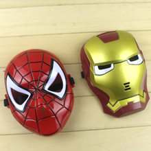 Cool Iron Man Mask Blue LED Lights Eyes Halloween Cosplay Party Comics Marvel Kids Adults 2017 Children's Day Spider-Man Mask(China)