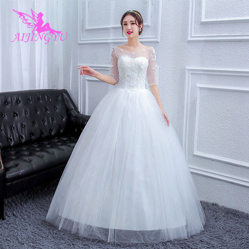 AIJINGYU 2018 Sweet Free Shipping New Hot Selling Cheap Ball Gown Lace Up Back Formal Bride Dresses Wedding Dress FU215