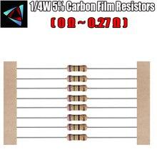 100pcs 1/4W 5% Carbon Film Resistor 0 0.1 0.12 0.15 0.2 0.22 0.27 0.3 ohm