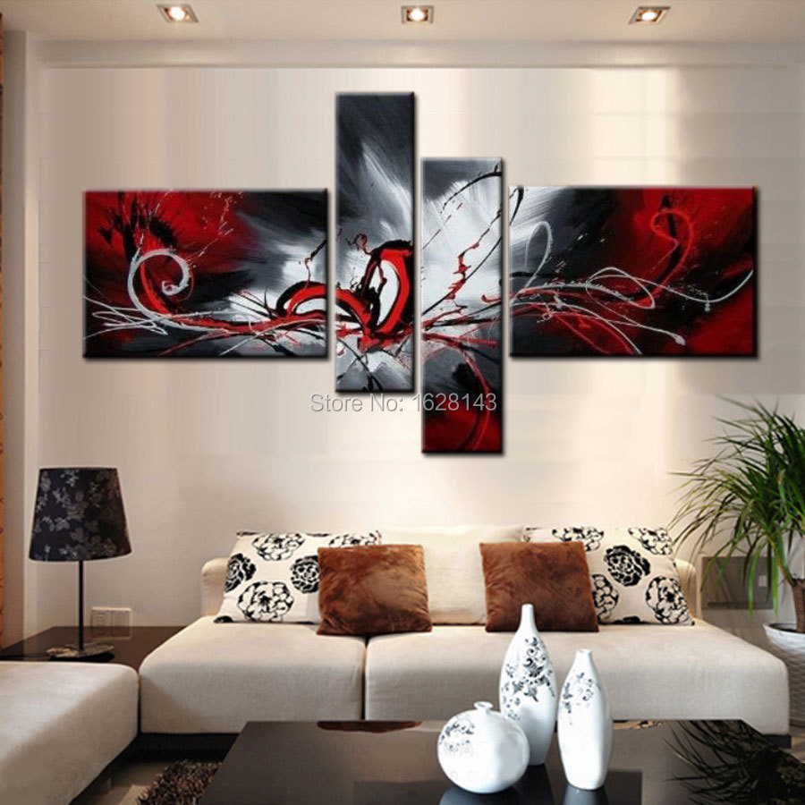 Abstract black white red graffiti 4 pieces modern oil for Home decoration pieces