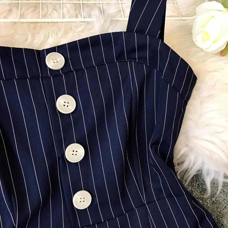 2019 Spring and Summer Korean New Stripe High Waist Open-back Jumpsuit Women Sleeveless Broad-legged Overalls G794 32