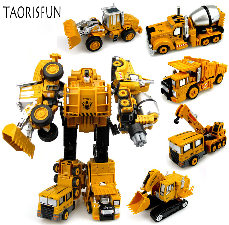 2 in 1 Alloy Engineering Transformation Robot Car Deformation Toy Metal Alloy Construction Vehicle Truck Assembly