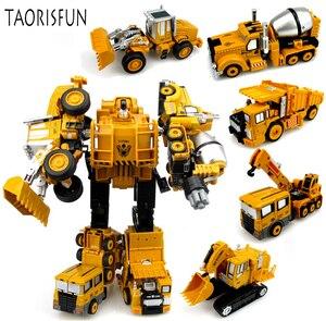 Image 1 - 2 in 1 Legierung Engineering Transformation Roboter Auto Verformung Spielzeug Metall Legierung Bau Fahrzeug Lkw Montage Roboter Für Kid