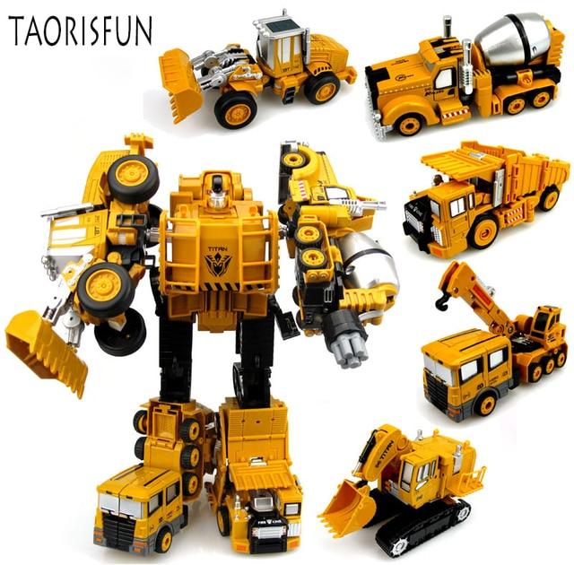 2 in 1 Legierung Engineering Transformation Roboter Auto Verformung Spielzeug Metall Legierung Bau Fahrzeug Lkw Montage Roboter Für Kid